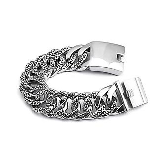 Men's Stainless Steel Embossed Miami Cuban Curb Link Bracelet