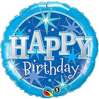 Qualatex 36 Inch Round Happy Birthday Pink/Blue Sparkle Foil Balloon