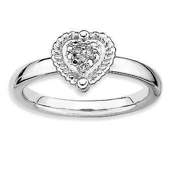 925 Sterling Silver Polished Prong set Pileable Expressions Love Heart Diamond Ring Jewelry Gifts for Women - Ring Size