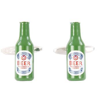 David Van Hagen bière bouteille boutons de manchettes - vert/argent