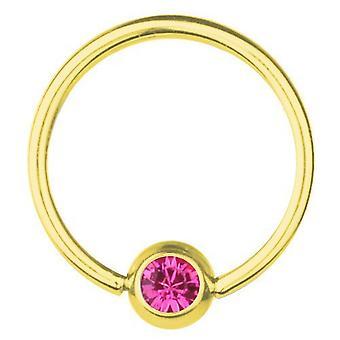 BCR guldpläterade Titan Piercing 0,8 mm, SWAROVSKI ELEMENTS rosa | 6 - 12 mm