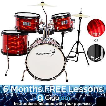 Rakete 5 Stück Junior Drum Kit - erhältlich in schwarz oder rot