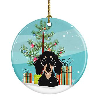 Christmas Tree and Smooth Black and Tan Dachshund Ceramic Ornament