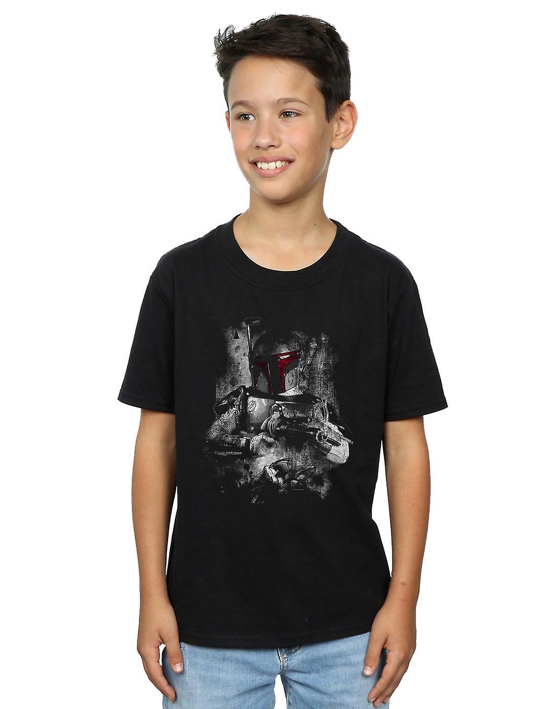 Star Wars Boys Boba Fett Distressed T-Shirt