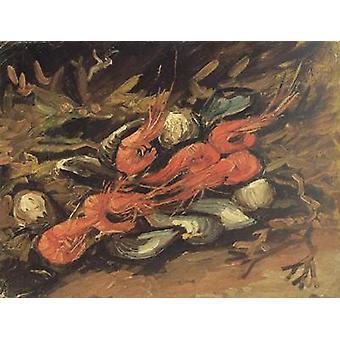 الحياة مع بلح البحر والجمبري، فنسنت فإن جوخ، 26.5 × 34.5 سم