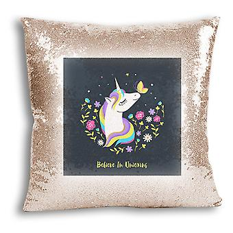 i-Tronixs - Unicorn Printed Design Champagne Sequin Cushion / Pillow Cover for Home Decor - 14