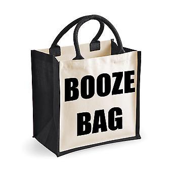Medium Black Jute Bag Booze