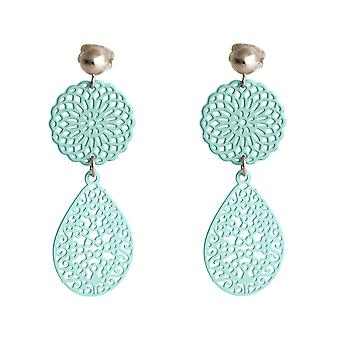 Gemshine earrings yoga mandala drop 925 silver, gold plated or rose - blue