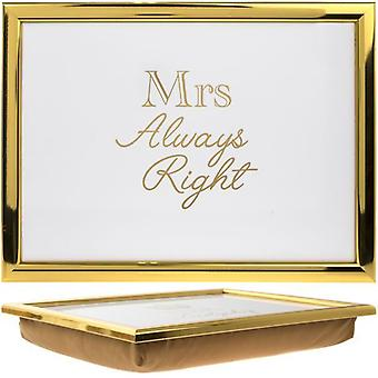 Mrs Always Right Golden Padded Laptray Bean Bag Cushioned Lap Tray Gift For Her