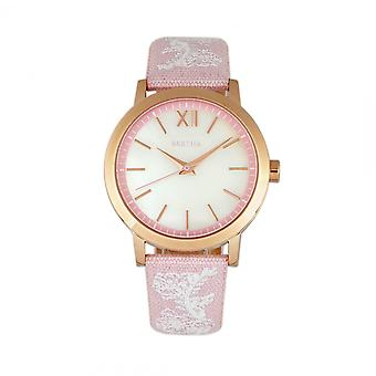 Bertha Penelope MOP cuir-Band Watch-rose clair