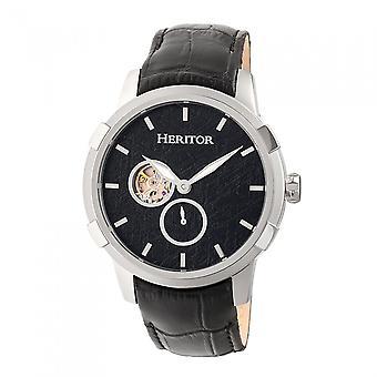 Heritor Automatic Callisto Semi-Skeleton Leather-Band Watch - Silver/Black
