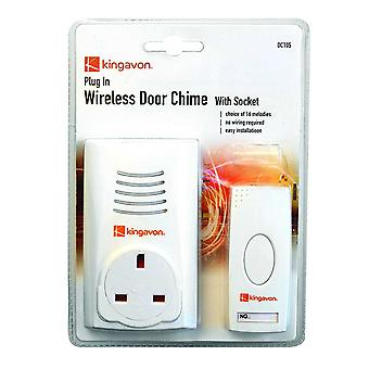 3 X Kingavon Bb-Dc105 Plug-In Wireless Door Chime with Socket