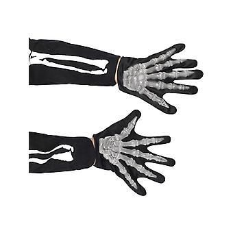 Skelet handschoenen kinderen tot en met de Halloween skelet kostuum
