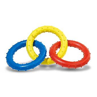 Classic Triple Ring Rubber Tug Dog Toy