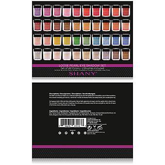SHANY solta pérola olho sombra glitter em cores favoritas com duas escovas de sombra-conjunto de 40 cores