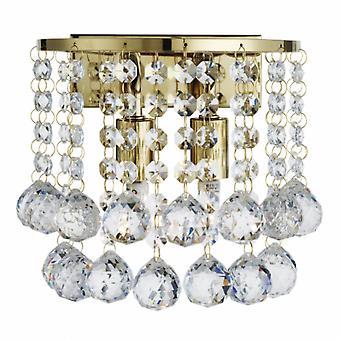2 ljus inomhus vägg ljus guld med kristaller