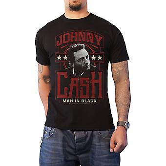 Johnny Cash T Shirt Man in Black Vintage Logo Official Mens New Black