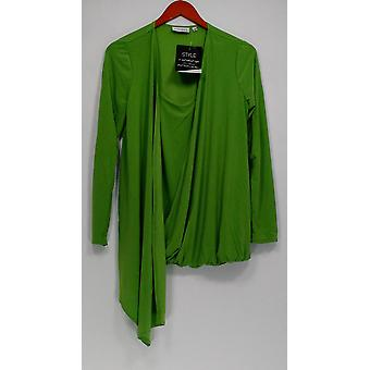 Attitudes by Renee Women's Sweater Drape Front Duet Cardigan Green A231422