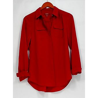 Liz Claiborne New York Top Heritage Collection Button Front Red A267302