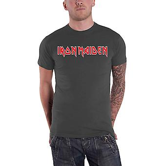 Iron Maiden T Shirt Band Logo Classic Red Official Mens New Charcoal Grey