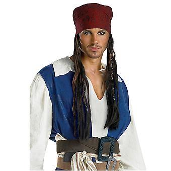 جاك سبارو القراصنة ديزني لمنطقة البحر الكاريبي الرجال حلي عقال الشعر شعر مستعار كيت