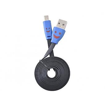 Flat USB MICRO Cable with LED 1m (black)
