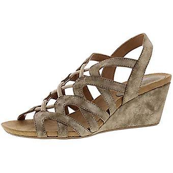 Style & Co. Womens Muletta Metallic Strappy Wedge Sandals Gold 5 Medium (B,M)
