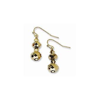 Herdekrok Mässing ton Ljusbrun Pärl lång droppe Dangle Örhängen Mäter 29x10mm breda smycken gåvor för kvinnor