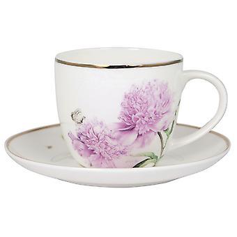 Ashdene ružové pivonky pohár a tanierik