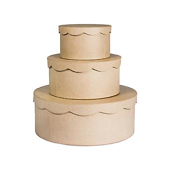 3 Assorted Wedding or Birthday Cake Paper Mache Box Set | Papier Mache Boxes