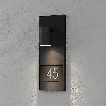 Konstsmide Modena Black LED Aluminium Illuminated House Numbers Wall Light