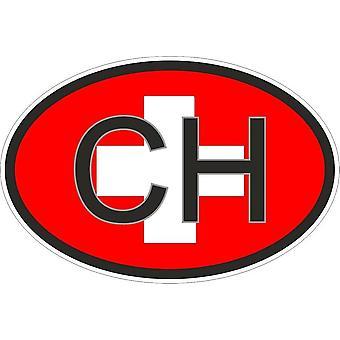 Autocollant Sticker Drapeau Couleur Oval Code Pays Voiture Moto Suisse Ch