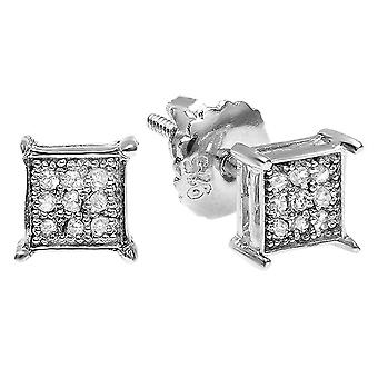 Dazzlingrock Collection 0.10 Carat (ctw) 14K Round Diamond Square Shape Mens Hip Hop Iced Stud Boucles d'oreilles 1/10 CT, Or blanc