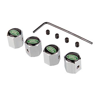 Set of 4 Chrome Anti-Theft Car Tyre Air Dust Valve Stem Cap For Land Rover