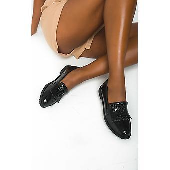 IKRUSH Womens Shirley patent kwast Brogue sandalen