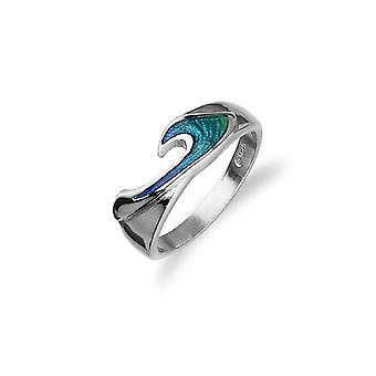 Sterling sølv traditionelle skotske ' Rhapsody ' design ring med varmt glas emalje