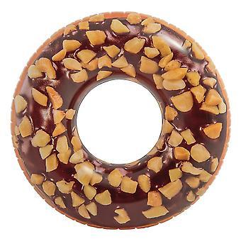 Jätte Simring Badring Formad Som Choklad Donut Med Nötter 115cm