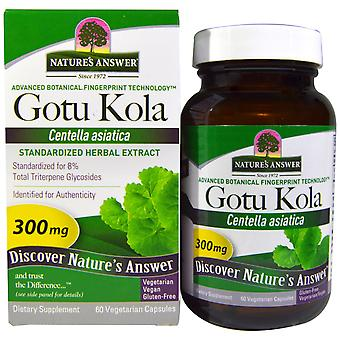 Gotu Kola, Standardisierter Kräuterextrakt, 300 mg (60 vegetarische Kapseln) - Nature's Answer