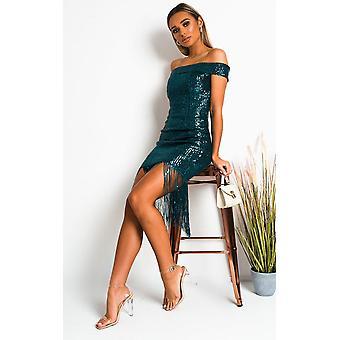 IKRUSH Femme Melanie Sequin Tassled Midi Robe