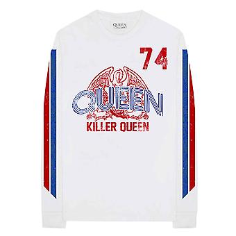 Queen T Shirt Killer Queen 74 Stripes Band Logo Official Mens White Long Sleeve