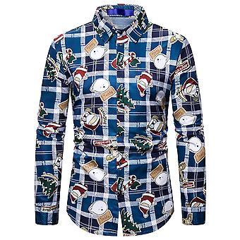 Allthemen Men's Koszula z długim rękawem Świąteczna koszula dorywcza z nadrukiem