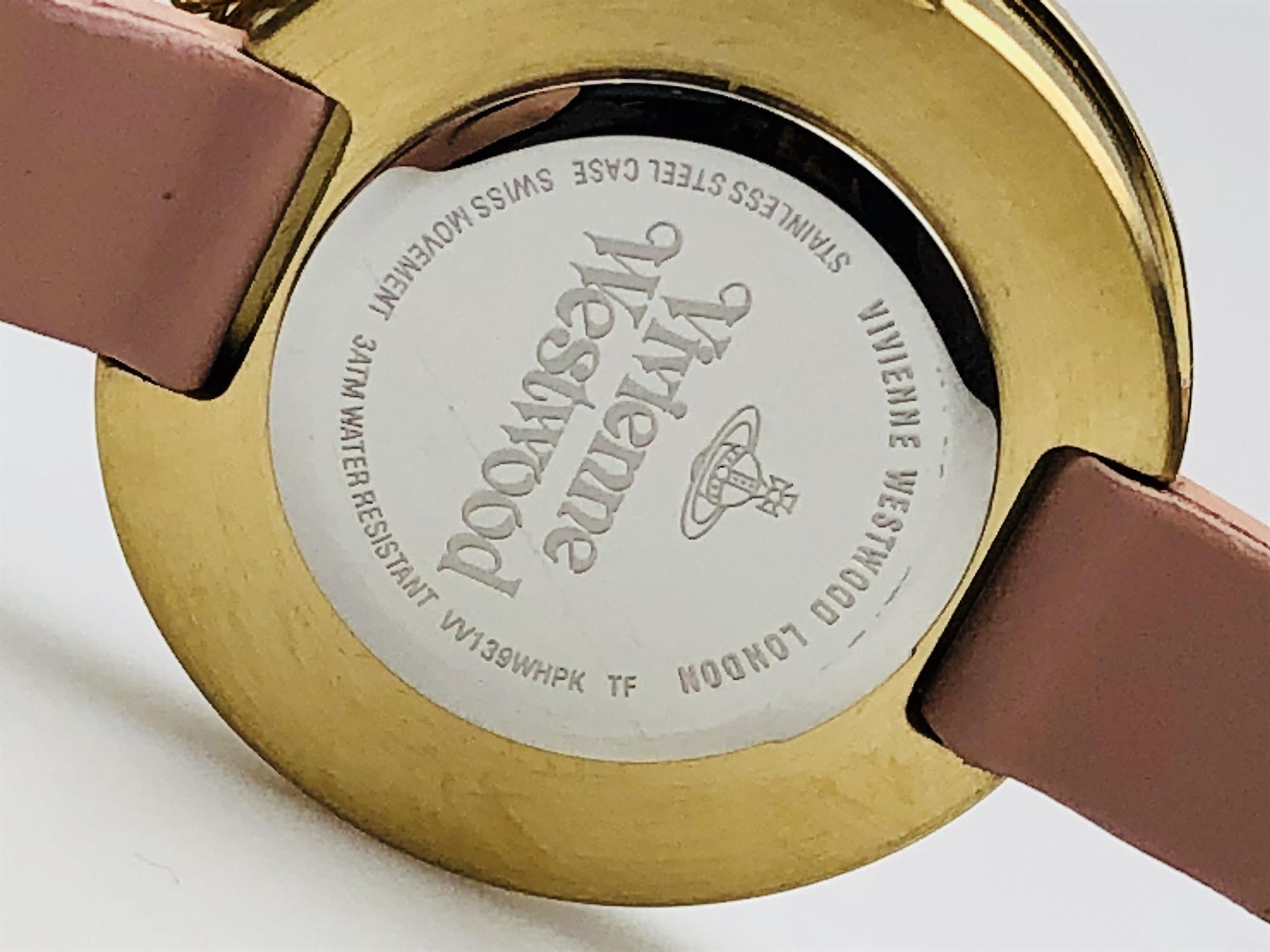 Vivienne Westwood Bow Orb Charm Pink Leather Strap Gold Ladies' Watch VV139WHPK