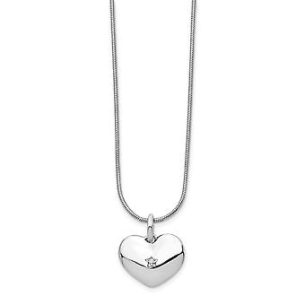 White Ice Diamond Love Heart Necklace 18 Inch Jewelry Gifts for Women - .010 dwt