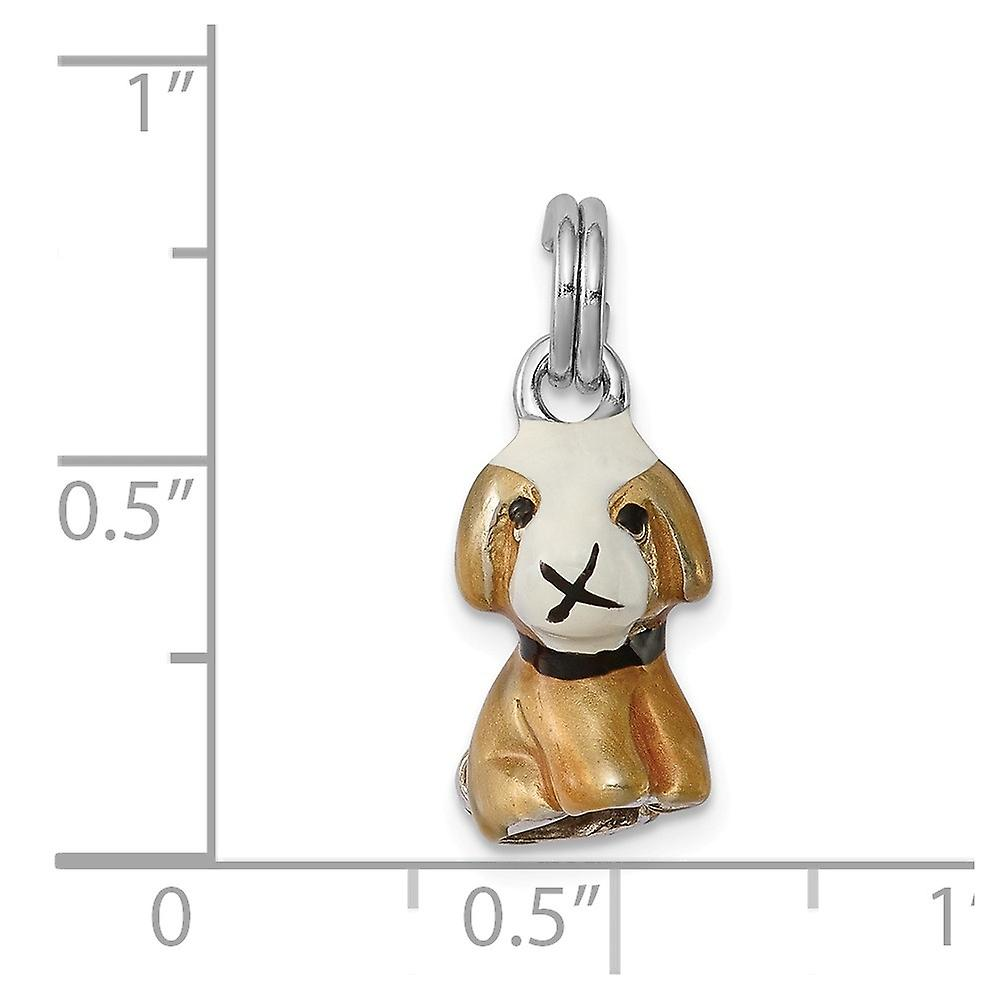 925 Sterling Silver Solid Polished Open bottom Enamel Animal Pet Dog Charm Pendant Necklace Jewelry Gifts for Women