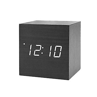 Digital Alarm Clock, Square - Black with White Numbers