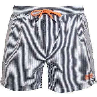 BOSS Striped Seersucker Swim Shorts, Navy