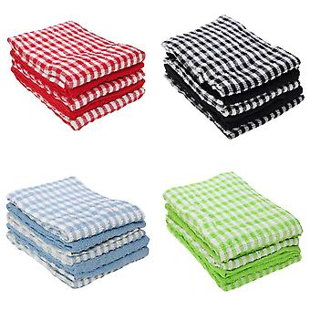 Cotton Check Terry Tea Towels (Pack Of 5)