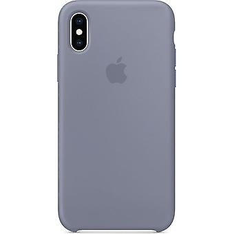 Original Packed Apple Silicone Microfiber Cover Case for iPhone XS - Lavender Grey