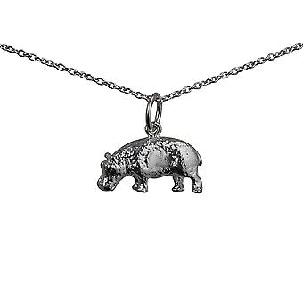 Silver 9x17mm Hippopotamus Pendant with a rolo Chain 24 inches