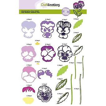 CraftEmotions step Clear Stamps A5 - violets Sweet Violets